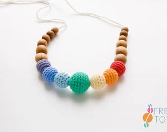 ORGANIC COTTON Teething Necklace for Mom - Bright Rainbow - Wood Nursing Necklace, Chewing Necklace, New Baby Gift - NB04