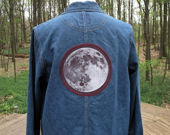 Denim Jacket - Full Moon Patch with Embroidery