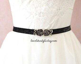 Skinny Black Gltter Elastic Lace Belt with Antique Gold Rose Buckle , Bridal Black Belt , Bridesmaid   Belt,  Sash Belt, SH-44