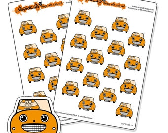 Road Trip Planner Stickers Orange - cat in a car stickers for your journal, diary or calendar - 32 kiss-cut car stickers