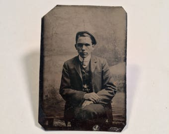 Late Tintype of a Young Man Wearing a Flat Cap, 19th Century Antique Photograph