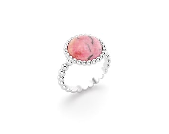 Rhodonite cabochon and silver Cocktail ring