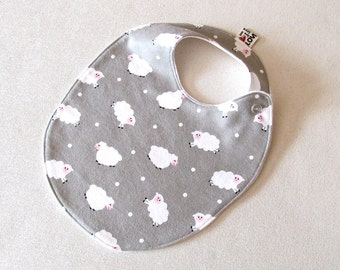 TODDLER Bib Gender neutral with Snaps, Super Soft Cotton Flannel Baby Bib, Reversible Adjustable Grey with cute clouds lambs print