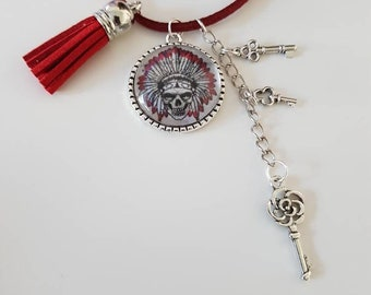 Red suede with cabochon calavera and Charms Necklace