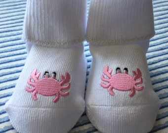 Pink Crab Baby Bootee