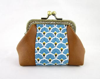 Retro faux camel leather clasp wallet and fabric motifs blue fan