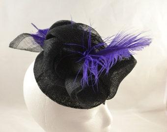Black fascinator with black & purple feather embellishment