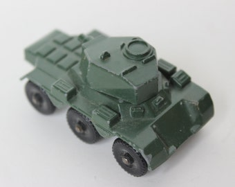 Vintage Lesney Saladin Armoured Car No 67 Army Tank Green Car Die Cast Metal Made in England