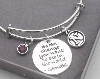 Gandhi 'be the change you want to see in the world'   vintage style initial   life inspiration jewellery   life quote gift   Gandhi Mahatma