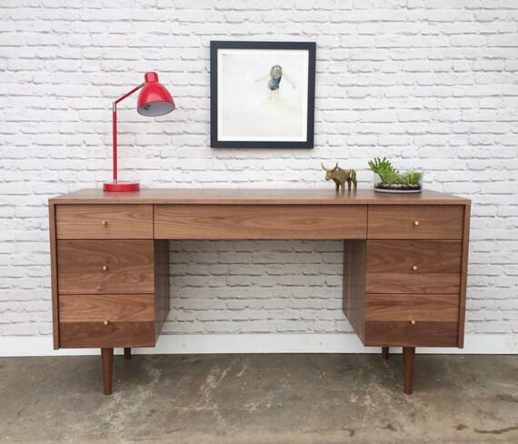 Society Desk Solid Walnut Mid Century Modern Inspired