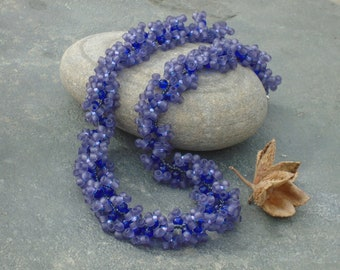 Hyacinth Necklace, Blue Crystal and Seed Bead Necklace, in cobalt blue crystal, grey and blue seed beads, UK seller