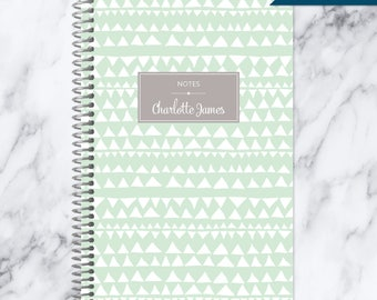 NOTEBOOK personalized journal | lined notebook | personalized gift | stocking stuffer | spiral bound notebook | mint green tribal pattern