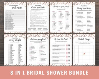 Rose Gold Bridal Shower Games Bundle, 8 in 1 Package, Whats in your Purse, Whats on your Phone, Who knows Bride Best, Disney Couples, PKG3