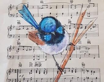 Pen and watercolour on original vintage sheet music