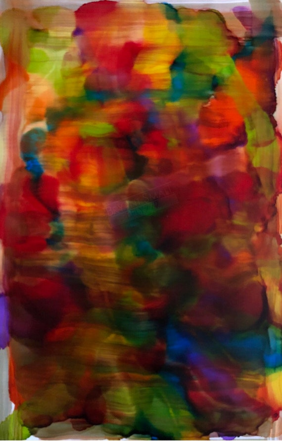 """Large Original Alcohol Ink Abstract: """"Unrecognizable"""" (23"""" x 35"""")"""