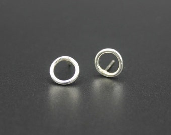 Round Stud Earrings, Sterling Silver Stud Earrings, Silver Stud Earrings, Circle Earrings, Circle Stud Earrings, Open Circle Stud Earrings