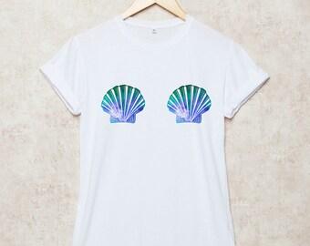 Mermaid Shirt Mermaid Shell T Shirts Summer T-Shirt Beach Mermaid Gift Grey White Size S , M , L , XL , 2XL , 3XL