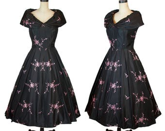 1950s Dress // Black Taffeta Portrait Shawl Collar Pink Embroidered Full Skirt Formal Party Dress