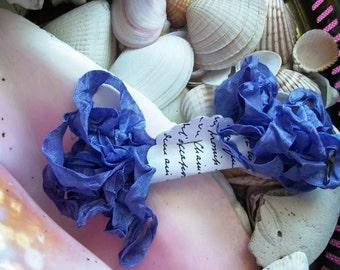 Vintage- Seam Binding- Crinkled- Periwinkle-Silky-Shabby