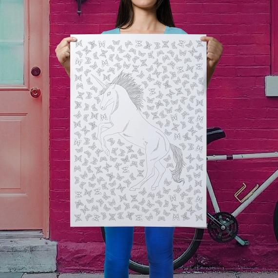 Niedliche Einhorn Poster Erwachsene Malvorlagen Einhorn