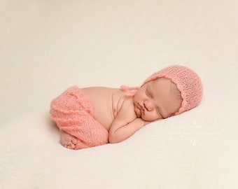 Peach Ruffles Mohair Pants and Hat Set Newborn Photography
