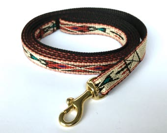 Small dog leash: Native American style with golden carabiner