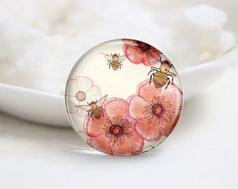 Round Glass Photo Cabochons Photo Glass Cabs-Flower (P3183)