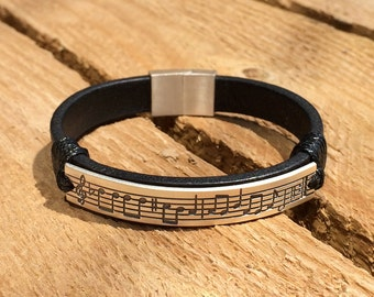 Leather music note bracelet, leather music note cuff, custom leather bracelet, music lover bracelet, music lover gift, composer gift, jewels