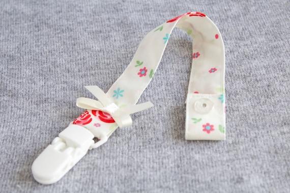 Ivory floral dummy clip/ pacifier clip