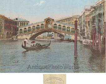 Bridge of Sighs Venice Italy antique hand colored photo by Bettini and Bonaldi