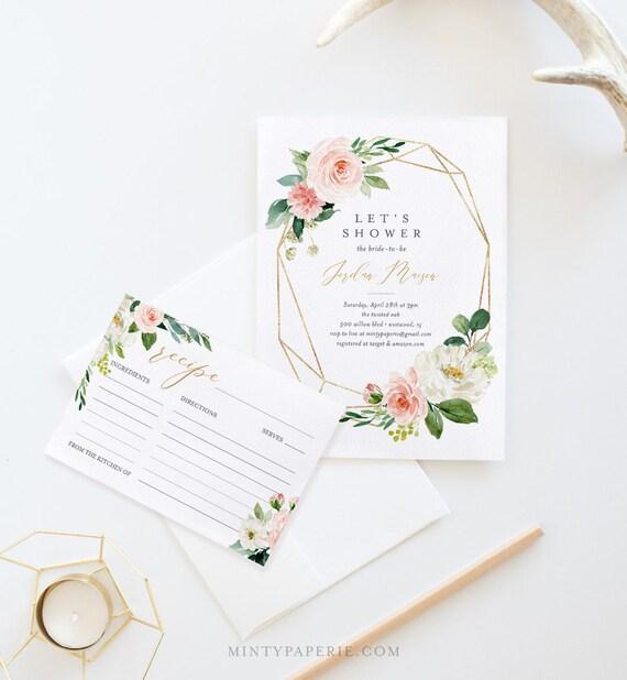 Bridal Shower Invitation & Matching Recipe Card, INSTANT DOWNLOAD, Printable Bridal Invite / Recipe Insert, 100% Editable Template #043-BSRC