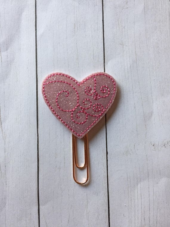 Pink Glitter Swirly Heart planner Clip/Planner Clip/Bookmark. Heart Planner Clip. Love Planner Clip. Valentine Planner Clip. Valentines Clip