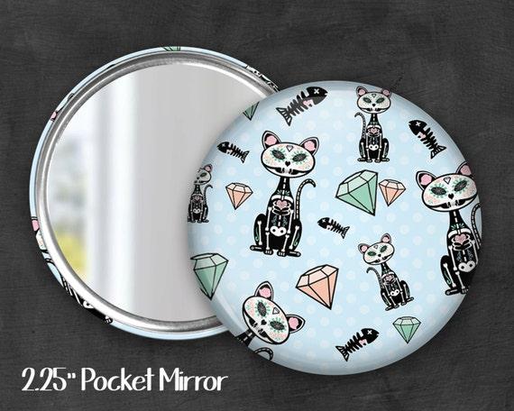 "2.25"" Skeleton Kitty Pocket Mirror, Geek Pocket Mirror, Geekery, Mirror Button, Kawaii Mirror, Pocket Mirror, Kawaii, Fairy Kei, Pastel Goth"