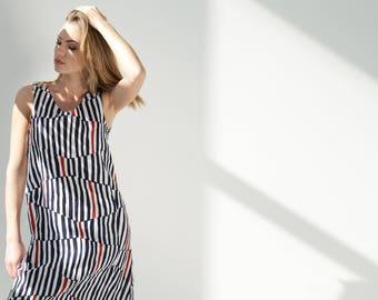 Linen Dress With Pockets / Sleeveless Dress / Casual Dress / Linen Clothing / Loose Dress / Striped Dress / Summer dress / Blue dress