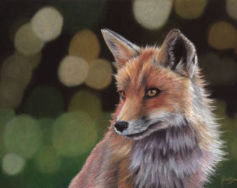 "Original A3 Coloured Pencil Painting of Fox ""Gracious"""