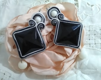 Party earrings, flamenco earrings, wedding earrings, godmother earrings, black and white earrings, mother's Day