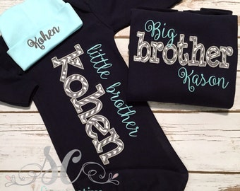 Big Brother Little Brother Outfits / Personalized Shirts for Boys / Big Brother Toddler Shirt and Baby Gown / Big and Little Shirts