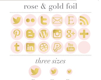 Social Media Icons - Simple Circles - Rose Pink and Gold Foil Glitter - Instant Download