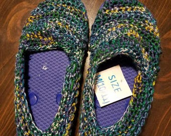 Child's crocheted sandals with flip flop soles