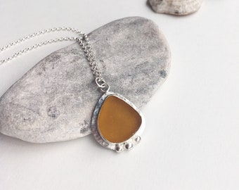 Sea glass necklace, yellow, necklace, handmade jewellery, sea glass, silver, unique, natural, beach, boho, hippie, women's accessories