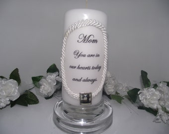 Mom memory candle  with embellishment to remember her by on a 6 inch pillar candle