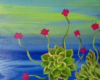 Succulent Painting, Acrylic Art, Art on Wood, Home Decor, Flower, Art for Small Space, Floral Art, Abstract Art, Original Painting, Abstract