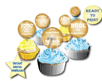 """Altcoin Cupcake Toppers Printable 12 Gold 2 1/2"""" Cryptocurrency Party Digital Files ~ FOMO, ICO, Bag Holder, HODL, Weak Hands, Coin Mining"""
