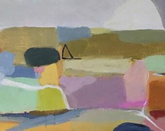 modern art abstract painting color field bohemian art contemporary design 10x20 abstract landscape pamela munger