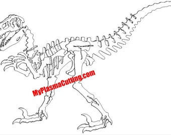 Raptor (Velociraptor) Dinosaur .dxf file. 11 ga layout and nesting