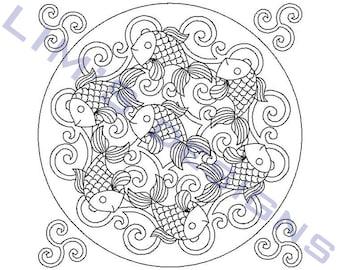 "Quilt Pattern Fish machine embroidery design - 3 sizes 4x4"", 5x5"", 6x6"""