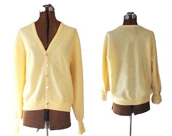 Vintage Yellow Fisherman Sweater Virgin Wool Knit Sweater Grandpa Sweater Pastel Sweater Pale Yellow Sweater Yellow Sweater Pastel Yellow