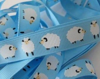 SHEEP Print Fabric Ribbon Trim (Blue)