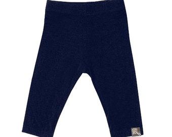 Plain Navy blue baby, bamboo rayon leggings