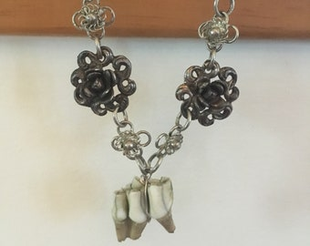 Deer tooth and antique floral pendants necklace